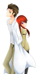 Okabe and Makise by Scarlet-Spectrum