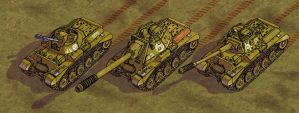 Tambrian MBT, heavy TD and AA vehicle DETAIL by wingsofwrath