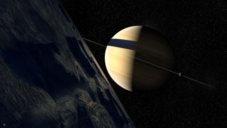 Saturn from Dione Revised by Drell-7