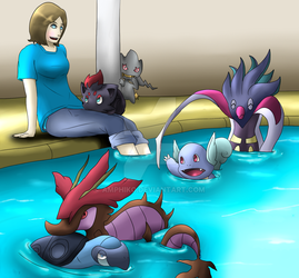 Pokemon Trainer and her team by Amphiko