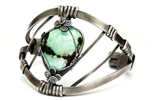 Turquoise Bracelet - Silver Plated Bangle by hyppiechic