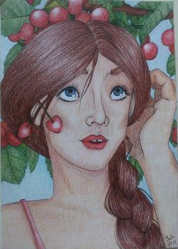 Girl with cherries by soninovakova