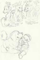 Nightmare and the Newfoundland (and dog doodles) by DarsyWolf