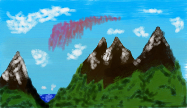 Island mountain Painting. by datazeroone2
