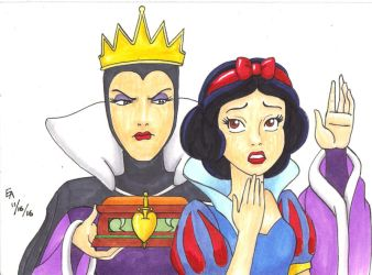 Queen Grimhilde and Snow White by mayorlight