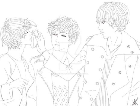 [Lineart] LuHan, Lay and Kris by Mister-Raindrop