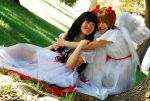 Angels Hug Sit by Tree by MyCosPlayPhotos