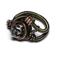 Steampunk Jewelry skull ring by CatherinetteRings
