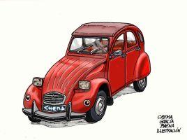 Red Citroen 2CV by ChemaIllustration