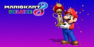 Mario Kart 8 - Mario with Mushroom Cup Trophy  by PigXChloe