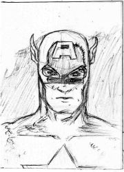 Captain America Sketch Card by ADRIAN9