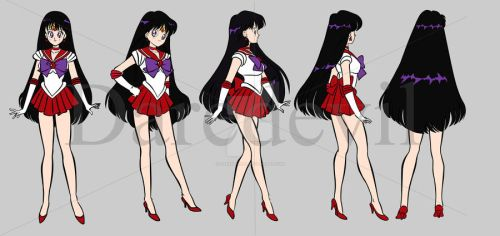 My Full Rotation Models Sheet of Sailor Mars by daredevil06
