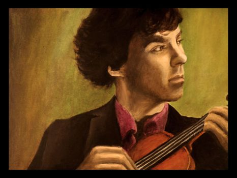Sherlock the violinist in oils by Tiofrean