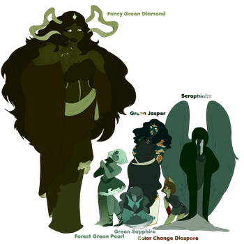 CE|Fancy Green Diamond And Her Court by catastrophe-witch