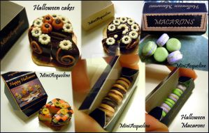 Halloween cakes and macarons by miniacquoline