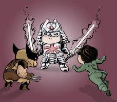 Rogue and Wolverine vs. Silver Samurai by Hensrw