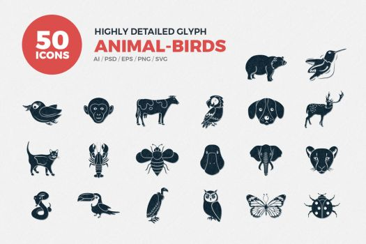JI-Glyph Animals Icons Set by jumboicons