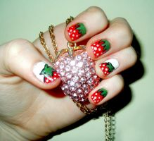 Strawberry Nails by RoxysSlushPuppie
