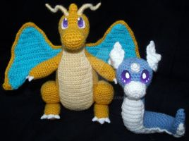Dratini and Dragonite Amigurumi