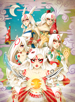Okami Brush Goddesses by Firefly-Raye