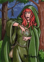 Witch Sketch Card 5 - Hallowe'en Witchcraft by ElainePerna