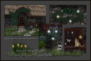 Enchanted Cottage Layered PSD by briarmoon-stock