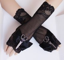 scissorhands mittens black lace by Pinkabsinthe