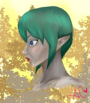 First time painting some weird blue haired girl by dMourn3ing-the-Glory