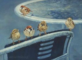 Venetian Sparrows-Oil Painting by AstridBruning