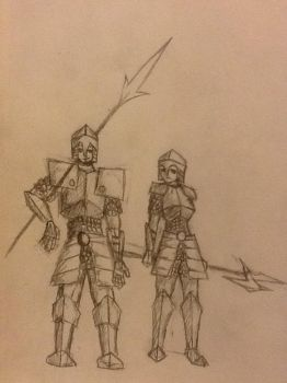 Male and female knights. by RawmanNoodles
