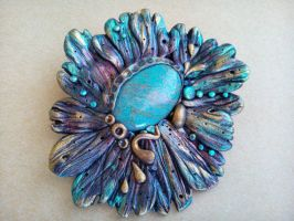 Woodland Fairy Turquoise Polymer Clay Brooch by RoyalKitness