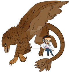 Gift #24 - Rumbly with his Griffon Companion by AmnesiaMoons