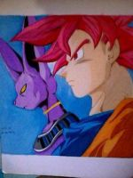 2014 Drawing - God mode Goku and Bills by nielopena