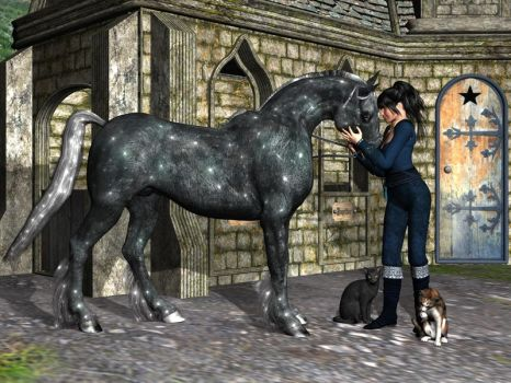 Sharni with cats and horse by Ozziegrl