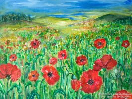 Field of Poppies, original acrylic painting by NoirArt