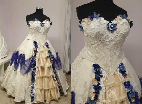 Cream and Royal Blue Bridal Gown by Firefly-Path