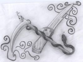 Sickle and Knife by WildBlackWolf