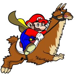 Mario riding a Llama. by Matarael
