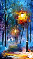 Night lights by Leonid Afremov by Leonidafremov