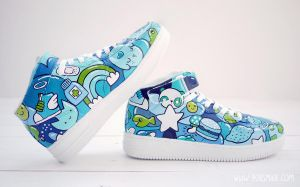 Doodle in Blue Custom Shoes by Bobsmade
