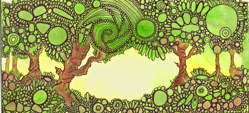 Mixed media doodle landscape by TurquoiseTreeArt