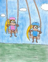 Dixie and Trixie playing on swings by VideogameGamer