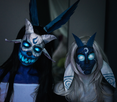 Kindred makeup (League of Legends) by Helen-Stifler