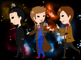 DW: 9th, 10th, and 11th Doctor by KaiDarknight