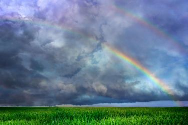 Rainbow sky field WALLPAPER and STOCK by AStoKo