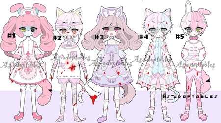 zombie hospital adoptable batch open by AS-Adoptables
