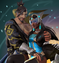 Hanzo and Symmetra (SFM) by DarknessRingoGallery
