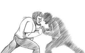 Daily Sketch: Fighting With Myself by Hunchy