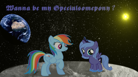 RD and Luna on the Moon (MLP - Background ) by Paxiya