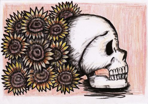 Skull and Flowers by MaxLevel27